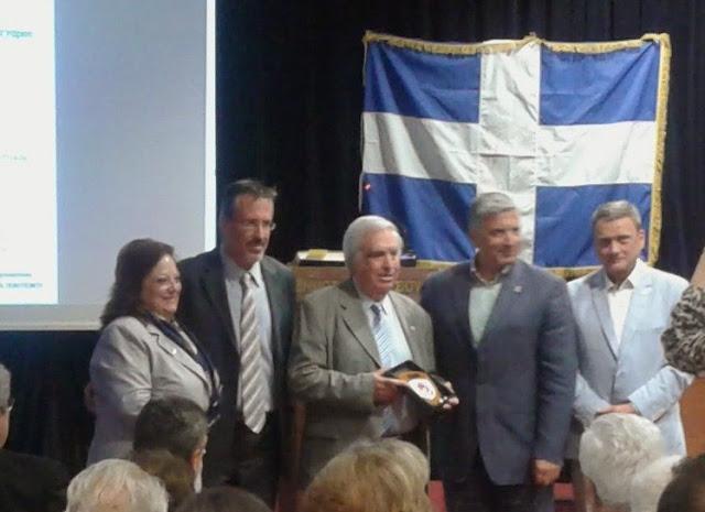 Από αριστερά η Αντιδήμαρχος κα Χαλιώτη, ο Θ. Μπριάνης, ο Μ.Μπασδέκης και ο Δήμαρχος Γ. Πατούλης
